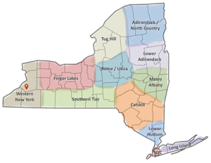 Western NY Region Map with Pin