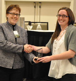Christina Illingworth, a GIS Technician with the Development Authority of the North Country, accepting the 2015 Individual Achievement Award.